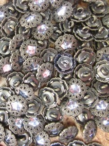 Buttons - Antique Brass with crystal