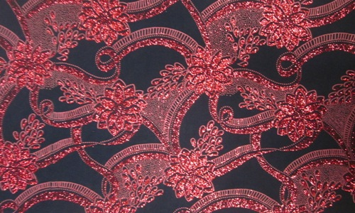 Black with Red glitter flower motif