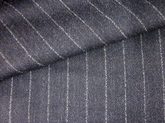 Suiting Fabric 100% Wool Black with White Pinstripe