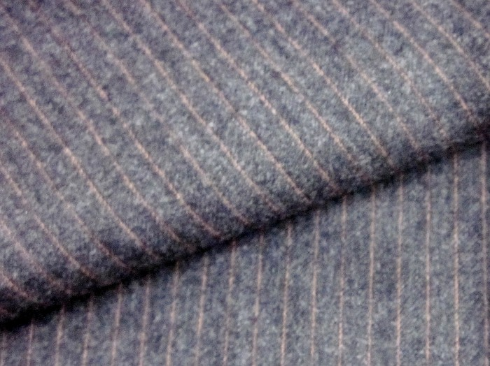 Suiting Fabric 100% Wool Dark Grey with Pink Pinstripe